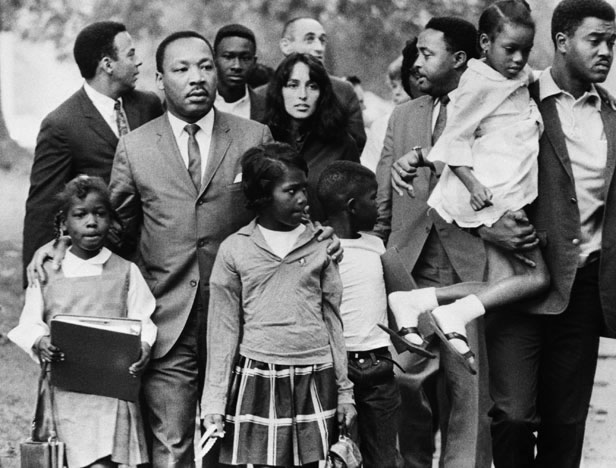 Martin Luther King Escorting Children